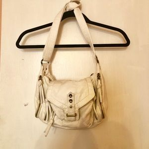 Deena & Ozzy White Leather Crossbody Bag
